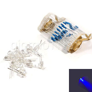 US-Stock-100pcs-Flash-LED-5mm-Blue-Water-Clear-Ultra-Bright-With-Free-Resistors