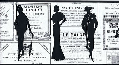Ladies Silhouettes on Old Advertising Background - Off-White -  Border - PA5651B