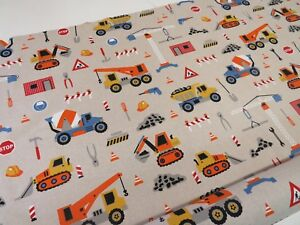 Children-039-s-Builder-Digger-Print-Cotton-Fabric-Curtain-Upholstery-Quilting-Craft
