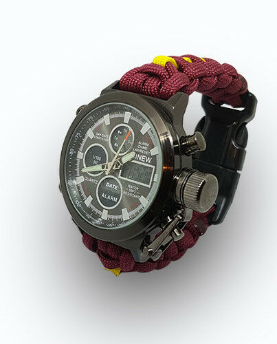 Paracord Watch in The 11th Hussars Colours for the Strap
