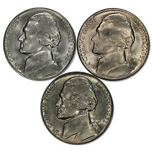 Nice GOOD VG FREE SHIPPING 3 Coin Lot 1951 P D S Jefferson Nickel Set
