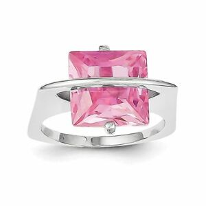 .925 Sterling Silver Rose Zircone cubique Bague-afficher le titre d`origine V9ZgTp3J-09090001-767524611