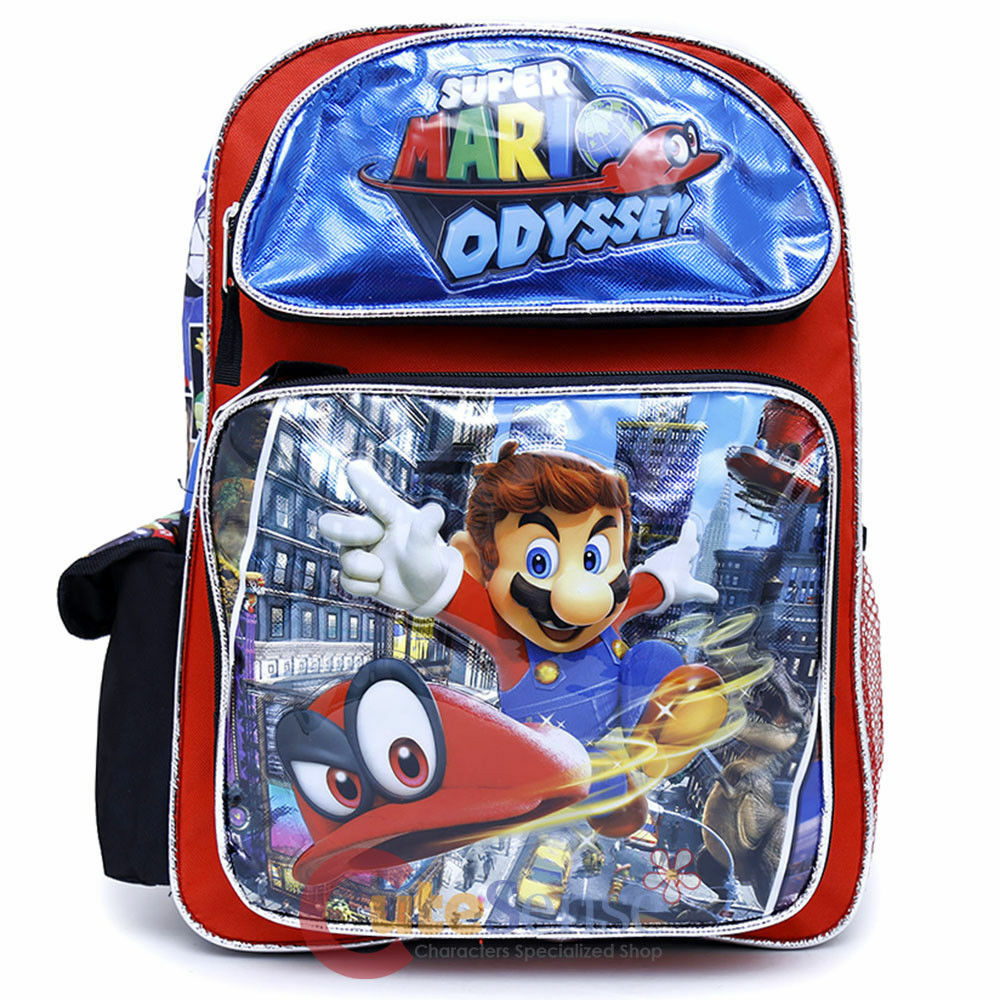 "Odyssey Super Mario Large School Backpack 16/"" Boys Book Bag Plus Lunch Bag"