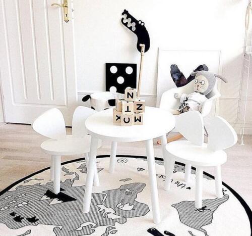 Baby Soft Round World Map Play Rug Game Mat Bedroom Carpet Crawling Blanket Kids