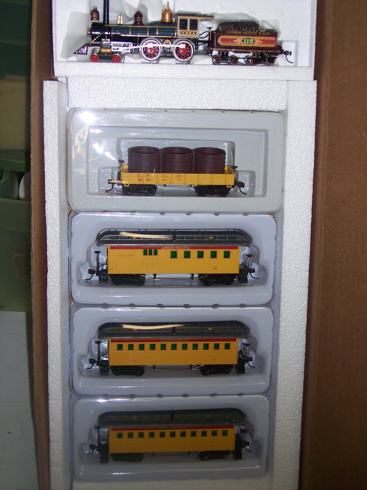 HO UNION PACIFIC R.R. TRAIN SET AMERICAN 4-4-0 OLD TIME LOCOMOTIVE RRUP-010