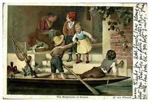 Antique-colour-printed-Tucks-postcard-The-Elopement-of-Helena-cute-children