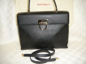 381be9253993 Image is loading SALVATORE-FERRAGAMO-Kelly-Gancini-Saffiano-Black-Leather-2-