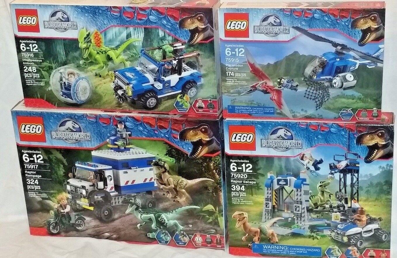 75915 75916 75917 75920 Lego Lote 4 Juegos Jurassic World World Raptor Rampage Dinosaurios  de moda