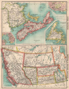 Map Of Canada Halifax.Details About Canada Western Maritime Provinces Inset St John Halifax 1901 Old Map