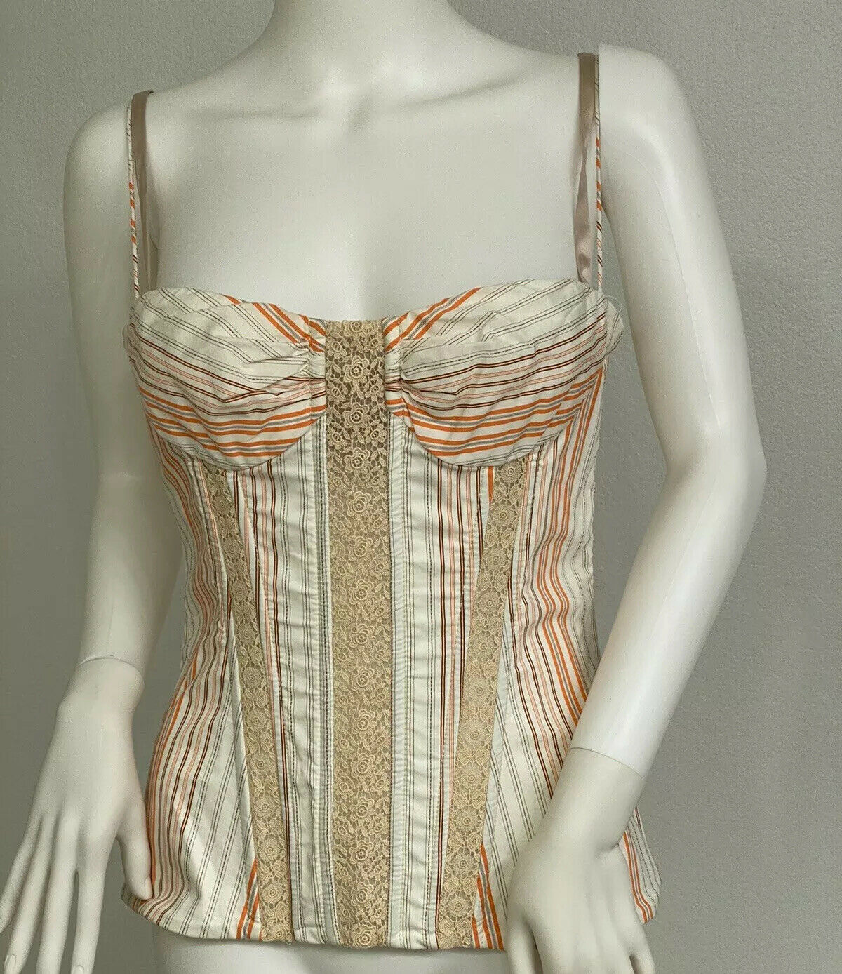Vintage Dolce Gabbana Cotton, Lace Corset Top Bus… - image 4