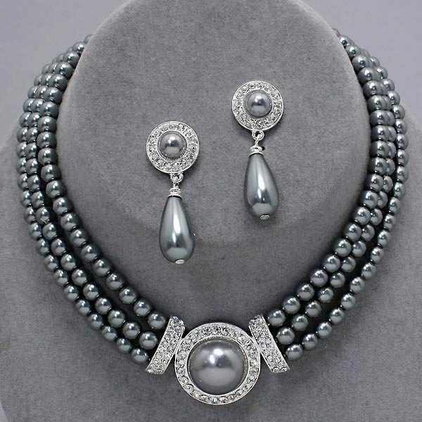 Silver Grey Faux Pearl Jewellery Diamante Drop Earrings Necklace Set Proms 0365 For Online Ebay