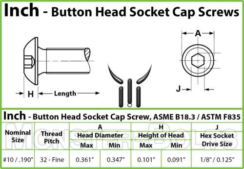 "Alloy Steel Black Oxide Qty 10 BUTTON HEAD Socket Cap Screws #10-32 x 3//8/"""