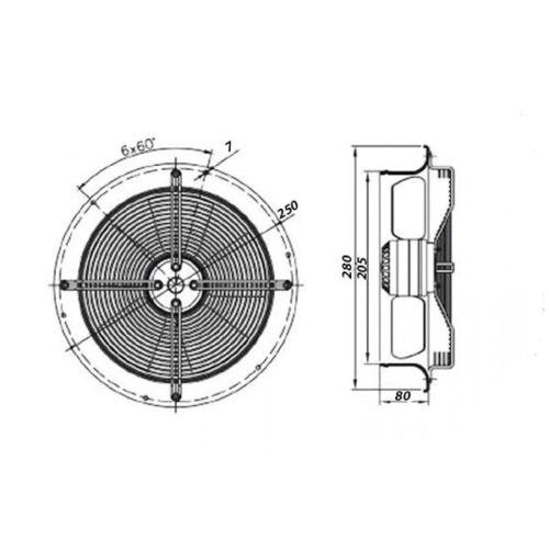 Wandventilator Industrieventilator Fensterlüfter dalap RAB O TURBO Ø200mm 8115