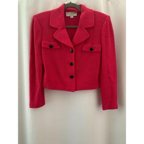 St. John Cropped Blazer Hot Pink Knit Blazer Size
