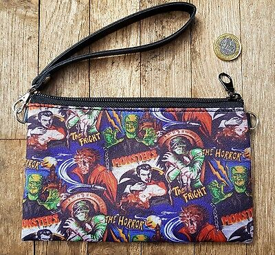 Horror Movie Black Round Handbag Vampire Frankenstein Werewolf Bag Clutch
