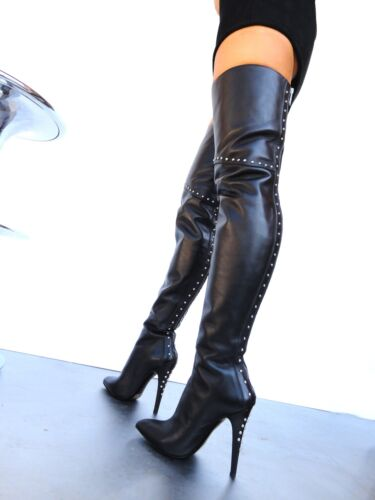Leather Black Boots Couture Custom Studs 43 Overknee Nye Cq Stiefel URw80A