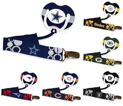 2019 New Style Nfl Logo Football Baby Pacifier Paci Clip (clip Only) - New - Pick Your Team!