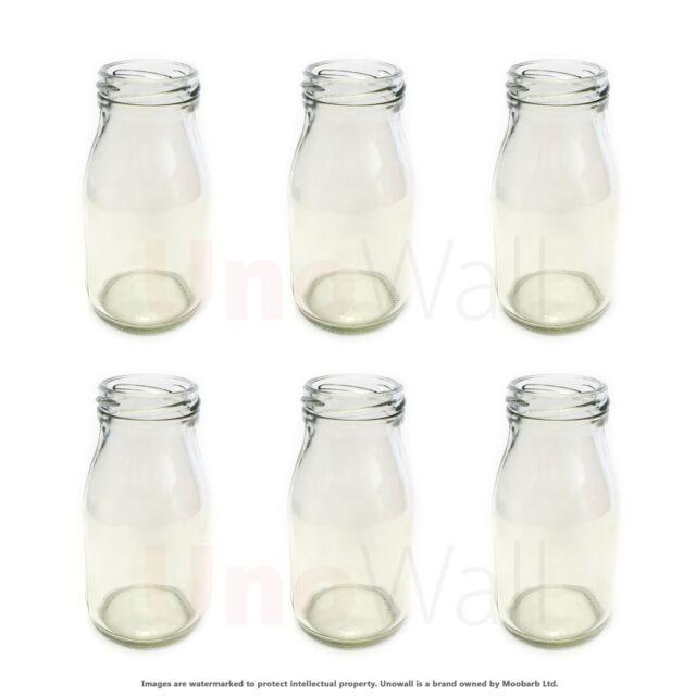 Set of 6 Mini Glass Milk Bottles - Weddings, BBQ, Parties. 200ml