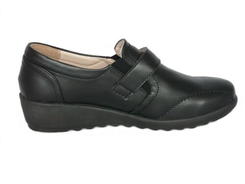 Cushion Walk Femmes Noir Cuir Doublé Tactile Fermeture Bas Compensé Chaussures Confort
