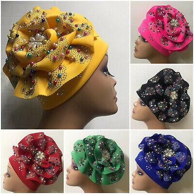 Women Fashion African Roses Turban Head scarf head wrap Cap Nigeria Auto Gele