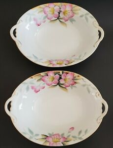 Noritake-M-Oval-Serving-Bowls-Azalea-Made-In-Japan-19322-Hand-Painted-Set-Two