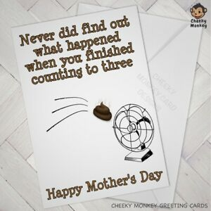 Details about Funny MOTHERS DAY CARD mum quotes count to three 3 NAUGHTY  RUDE sh*t hit the fan