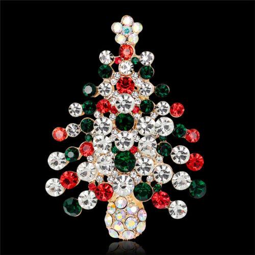 1X Unisexe Cristal Strass Broche Sapin De Noël Broche Broches Cadeau de Noël sur