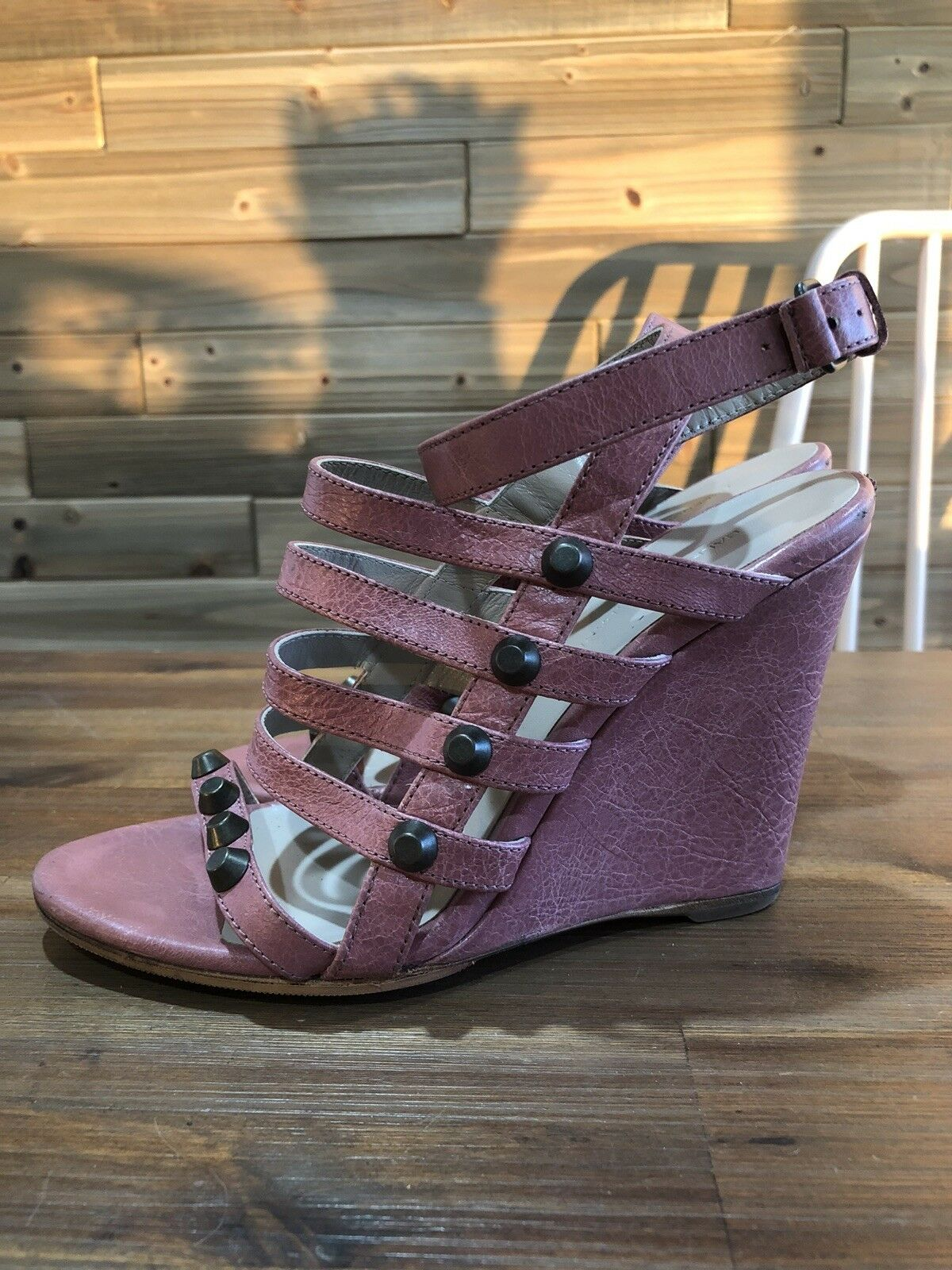 Authentic Balenciaga Wedges Heels Sandals with Studs Details Ankle Wrap 37