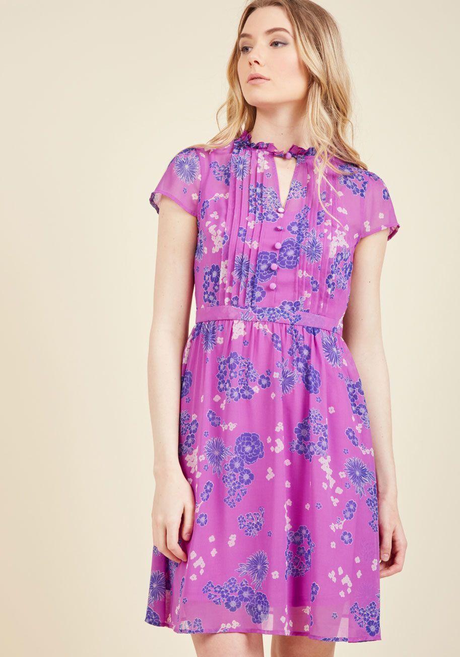 Modcloth Oh Say Can Museum Dress Size M Botanical purple Lindy Hopper