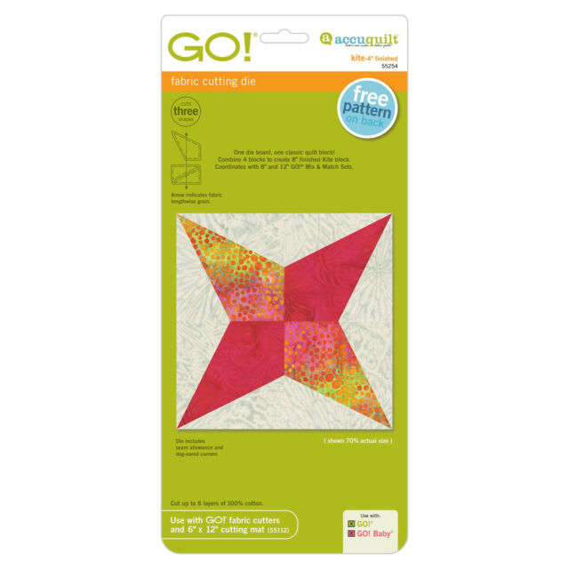 """AccuQuilt GO! & Baby!  Kite-4"""" Finished 55254 Fabric Cutting Die"""