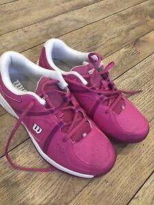 half off 0e0af 4351c Image is loading Pink-Wilson-ENVY-JR-Junior-Tennis-Trainers-Size-
