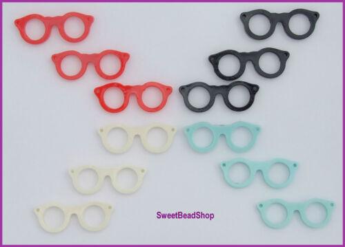 12 Mixed Colour Pack Plastic Retro Style 42 x 15mm Glasses 3D Pendants