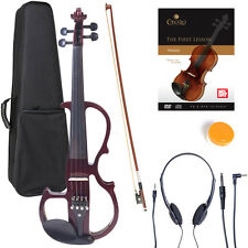 NEW 4/4 Ebony Electric Violin w/Pickup-Mahogany,Style-2