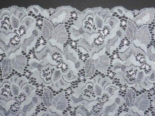"Silver Grey Multi Rose Stretch Lace Trim 6.5/""//16.5cm Sewing The Place For Lace"