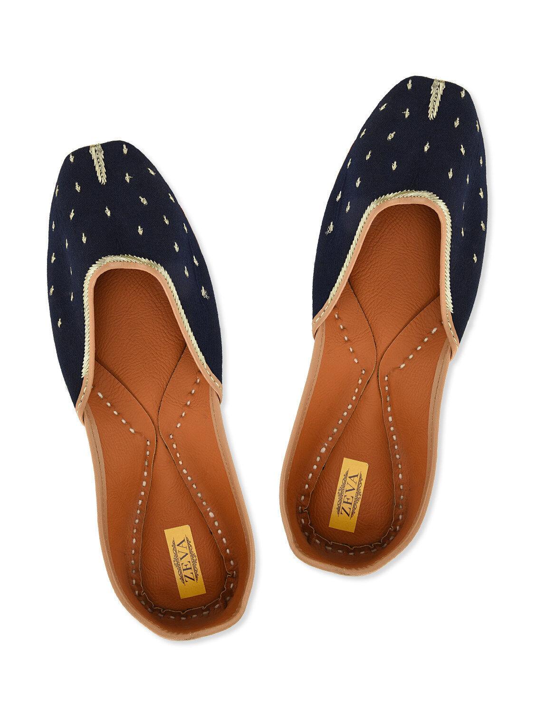 Ladies Flats Handmade Navy Blue Summer Shoe Ballet Flats Ladies Leather Indian Juttis Mojris 93f25e