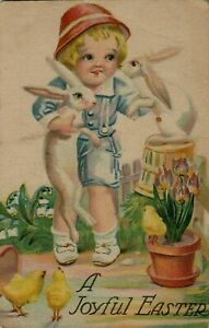 Child-with-Bunny-Rabbits-Flowers-Antique-Easter-Postcard-p685