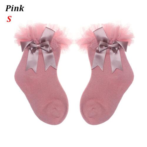 Soft Solid Color Bow Tutu Socks Kids Sock Toddler Ankle Baby Girls Leggings