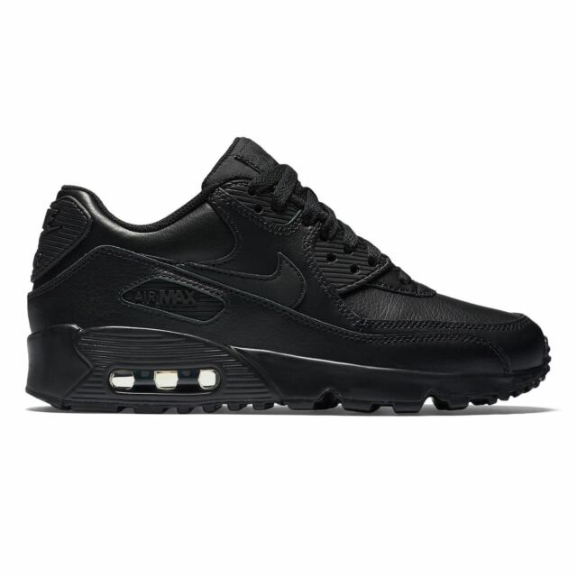 e5cdf52e33 Kids Nike Air Max 90 GS Leather Black Branded Footwear Shoes ...