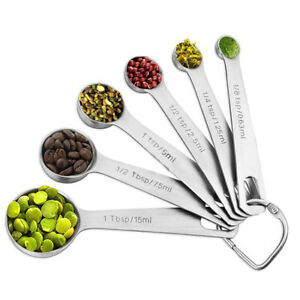 Stainless Steel Measuring Spoon Baking Cups Spoons Kitchen Cooking Tool 6pcs//set