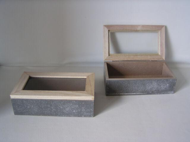 """2er Set Aufbewahrungsbox """"Zementoptik"""", Holz, Deckel mit Glaseinsatz,"""
