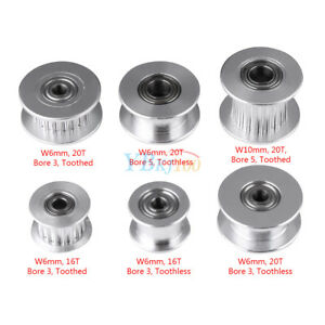5PCS GT2 Idler Timing Pulley 16//20 Tooth 3//5mm Bore For 6mm Belt 3D Printer