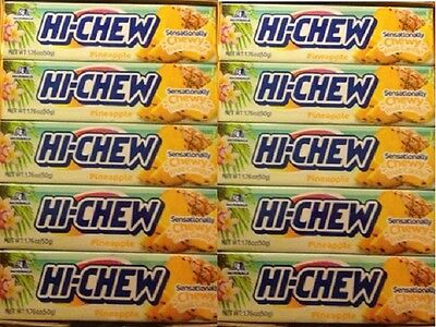 Bulk Lot Case Morinaga Hi Chew Chewy Fruity Candy - Sweet Pineapple - 10 Packs