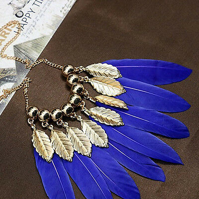 1X Luxury Feathers Leave Collar Necklace Clothing Chain Accessories For Women FL