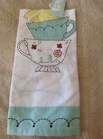 Tag Kitchen Towel (1) Coffee Cups White Aqua Yellow