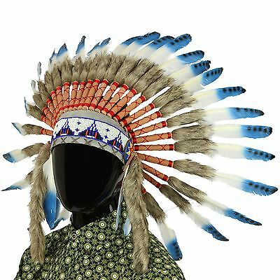 Indian Headdress Chief Feathers Bonnet Native American Gringo BLUE BLACK SPOTS