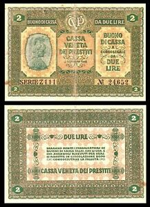 Italy banknote - 2 due lire - year 1918 - Austria occupation of Venice ***