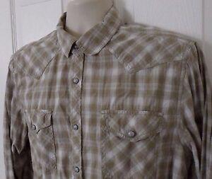 Mens-Roebuck-amp-Co-Western-Pearl-Snap-Long-Sleeve-Shirt-Biege-Plaid-Size-L