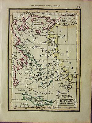 1832 Small Ancient Map ~ Insulae Maris Aegaei Creta Euboea Asia Minor Skillful Manufacture