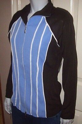 New Exclusively Misook Brown Blue Zipper Front Sweater Jacket Sz Xs Or Medium M Ebay