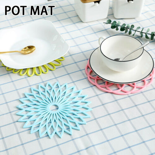 5pcs Cup Pan TPR Modern Simple Kitchen Bowl Pot Mat Heat Insulation Round Floral